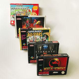 Super Nintendo: Spil i original emballage